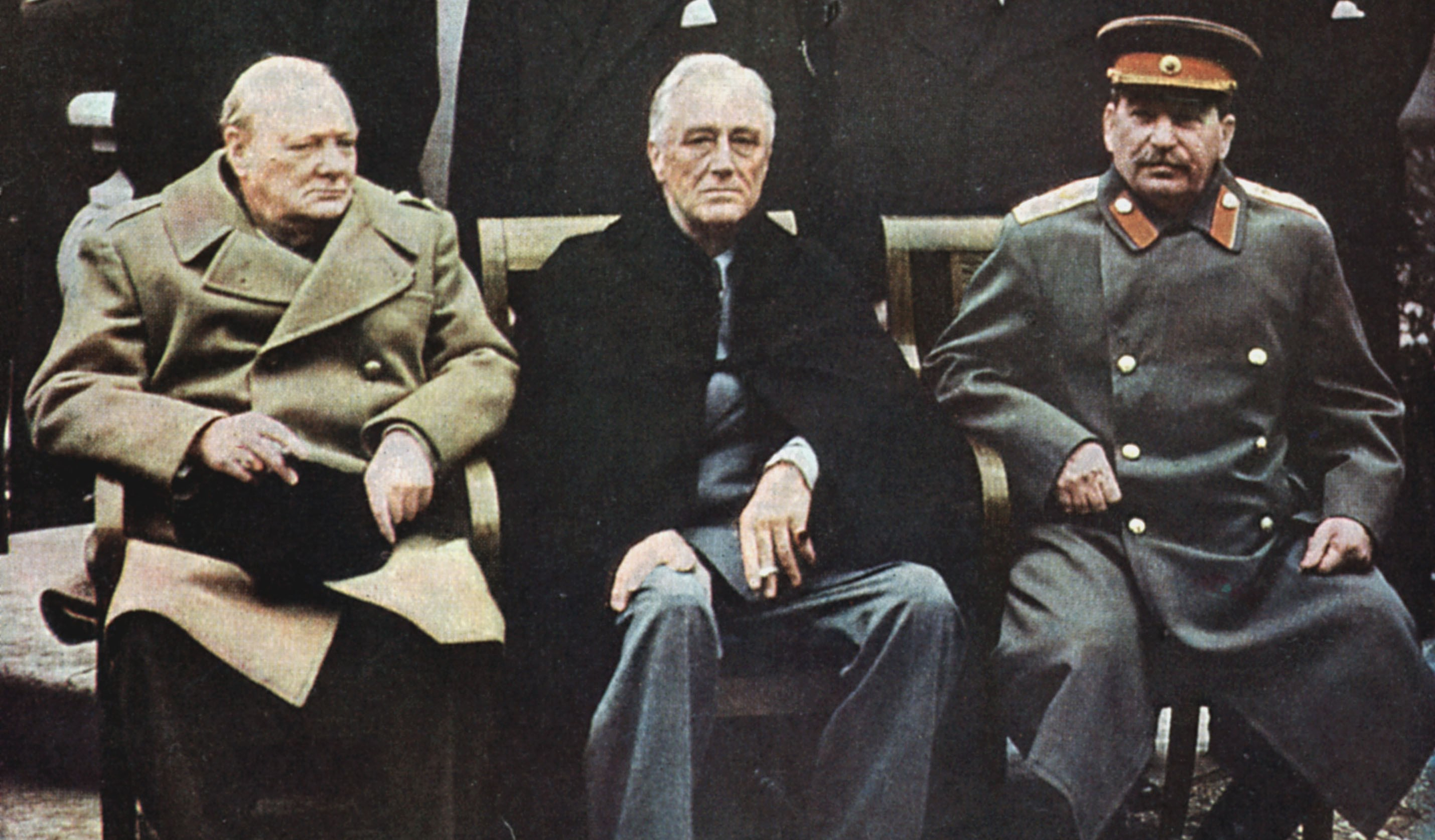 Yalta Conference of Allied leaders, 4-11 February 1945. Seated left to right: Churchill, FD Roosevelt and Stalin with their respective foreign ministers behind them.