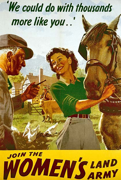 UK Women's Land Army recruitment poster showing a countryman gesturing with his pipe to young woman holding a working horse, captioned 'We could do with thousands more like you...' and subtitled 'Join the WOMEN's Land Army'.