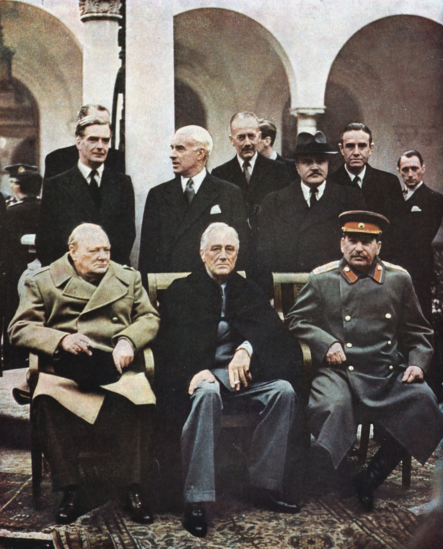 Coloured photograph of Yalta Conference of Allied leaders.